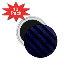 Stripes3 Black Marble & Blue Leather (r) 1 75  Magnet (10 Pack)  by trendistuff