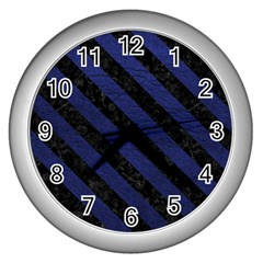 Stripes3 Black Marble & Blue Leather (r) Wall Clock (silver)