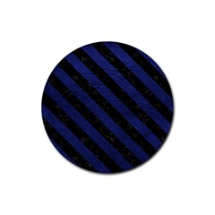 Stripes3 Black Marble & Blue Leather (r) Rubber Coaster (round) by trendistuff
