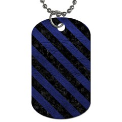 Stripes3 Black Marble & Blue Leather (r) Dog Tag (two Sides) by trendistuff