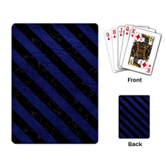 Stripes3 Black Marble & Blue Leather (r) Playing Cards Single Design by trendistuff