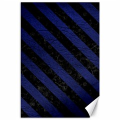 Stripes3 Black Marble & Blue Leather (r) Canvas 12  X 18  by trendistuff