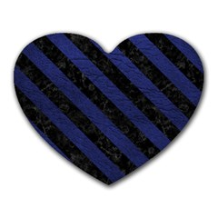 Stripes3 Black Marble & Blue Leather (r) Heart Mousepad by trendistuff