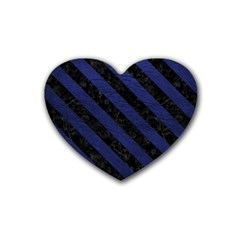 Stripes3 Black Marble & Blue Leather (r) Rubber Heart Coaster (4 Pack) by trendistuff