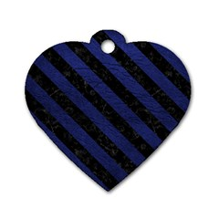 Stripes3 Black Marble & Blue Leather (r) Dog Tag Heart (one Side) by trendistuff