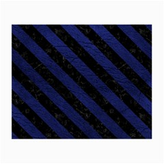 Stripes3 Black Marble & Blue Leather (r) Small Glasses Cloth (2 Sides) by trendistuff