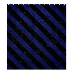 Stripes3 Black Marble & Blue Leather (r) Shower Curtain 66  X 72  (large) by trendistuff