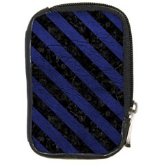 Stripes3 Black Marble & Blue Leather (r) Compact Camera Leather Case by trendistuff
