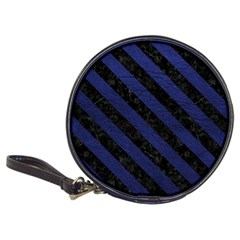 Stripes3 Black Marble & Blue Leather (r) Classic 20 Cd Wallet by trendistuff