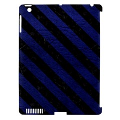 Stripes3 Black Marble & Blue Leather (r) Apple Ipad 3/4 Hardshell Case (compatible With Smart Cover) by trendistuff