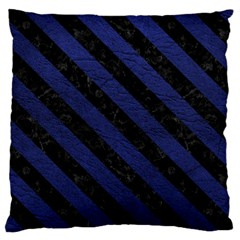 Stripes3 Black Marble & Blue Leather (r) Large Cushion Case (two Sides) by trendistuff