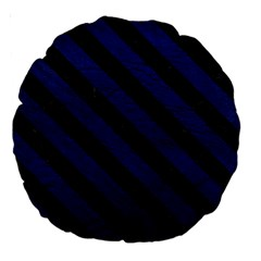 Stripes3 Black Marble & Blue Leather (r) Large 18  Premium Round Cushion  by trendistuff