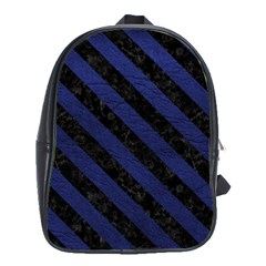 Stripes3 Black Marble & Blue Leather (r) School Bag (xl) by trendistuff