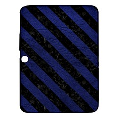 Stripes3 Black Marble & Blue Leather (r) Samsung Galaxy Tab 3 (10 1 ) P5200 Hardshell Case  by trendistuff