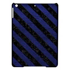 Stripes3 Black Marble & Blue Leather (r) Apple Ipad Air Hardshell Case by trendistuff
