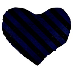 Stripes3 Black Marble & Blue Leather (r) Large 19  Premium Flano Heart Shape Cushion by trendistuff