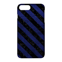 Stripes3 Black Marble & Blue Leather (r) Apple Iphone 7 Plus Hardshell Case