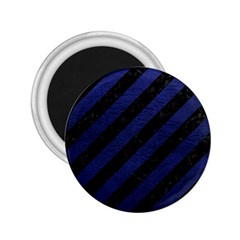Stripes3 Black Marble & Blue Leather 2 25  Magnet by trendistuff
