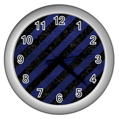Stripes3 Black Marble & Blue Leather Wall Clock (silver)