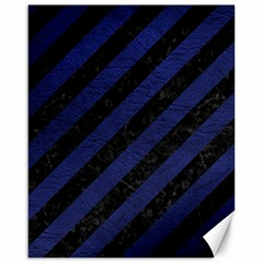 Stripes3 Black Marble & Blue Leather Canvas 16  X 20  by trendistuff