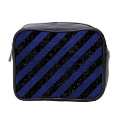 Stripes3 Black Marble & Blue Leather Mini Toiletries Bag (two Sides) by trendistuff