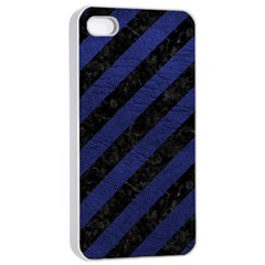 Stripes3 Black Marble & Blue Leather Apple Iphone 4/4s Seamless Case (white) by trendistuff