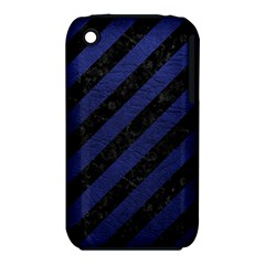 Stripes3 Black Marble & Blue Leather Apple Iphone 3g/3gs Hardshell Case (pc+silicone) by trendistuff