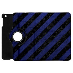 Stripes3 Black Marble & Blue Leather Apple Ipad Mini Flip 360 Case by trendistuff