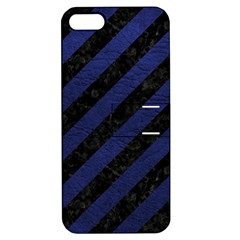 Stripes3 Black Marble & Blue Leather Apple Iphone 5 Hardshell Case With Stand by trendistuff