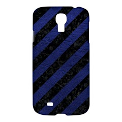 Stripes3 Black Marble & Blue Leather Samsung Galaxy S4 I9500/i9505 Hardshell Case by trendistuff