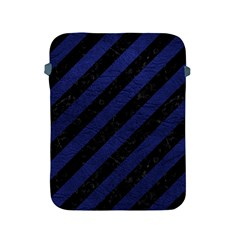 Stripes3 Black Marble & Blue Leather Apple Ipad 2/3/4 Protective Soft Case by trendistuff