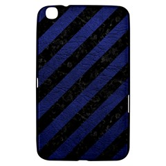 Stripes3 Black Marble & Blue Leather Samsung Galaxy Tab 3 (8 ) T3100 Hardshell Case  by trendistuff