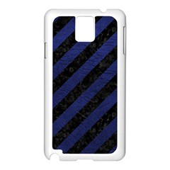 Stripes3 Black Marble & Blue Leather Samsung Galaxy Note 3 N9005 Case (white) by trendistuff