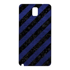 Stripes3 Black Marble & Blue Leather Samsung Galaxy Note 3 N9005 Hardshell Back Case by trendistuff