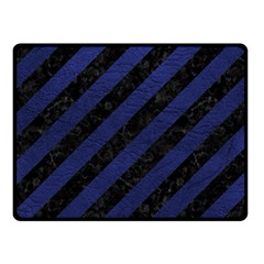 Stripes3 Black Marble & Blue Leather Double Sided Fleece Blanket (small) by trendistuff