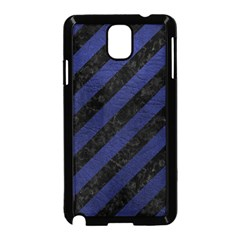Stripes3 Black Marble & Blue Leather Samsung Galaxy Note 3 Neo Hardshell Case (black) by trendistuff