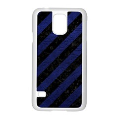 Stripes3 Black Marble & Blue Leather Samsung Galaxy S5 Case (white) by trendistuff