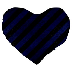 Stripes3 Black Marble & Blue Leather Large 19  Premium Flano Heart Shape Cushion by trendistuff