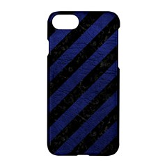 Stripes3 Black Marble & Blue Leather Apple Iphone 7 Hardshell Case by trendistuff