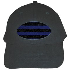 Stripes2 Black Marble & Blue Leather Black Cap