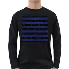 Stripes2 Black Marble & Blue Leather Long Sleeve Dark T Shirt by trendistuff