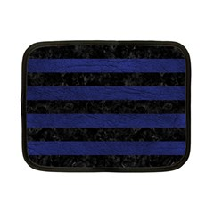 Stripes2 Black Marble & Blue Leather Netbook Case (small) by trendistuff