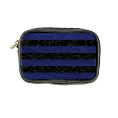 Stripes2 Black Marble & Blue Leather Coin Purse by trendistuff