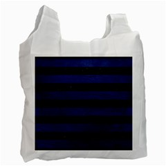 Stripes2 Black Marble & Blue Leather Recycle Bag (one Side) by trendistuff