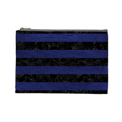 Stripes2 Black Marble & Blue Leather Cosmetic Bag (large) by trendistuff