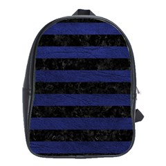 Stripes2 Black Marble & Blue Leather School Bag (large) by trendistuff