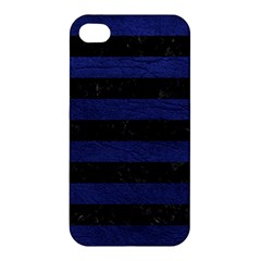 Stripes2 Black Marble & Blue Leather Apple Iphone 4/4s Hardshell Case by trendistuff