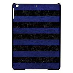 Stripes2 Black Marble & Blue Leather Apple Ipad Air Hardshell Case by trendistuff