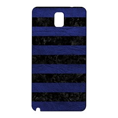 Stripes2 Black Marble & Blue Leather Samsung Galaxy Note 3 N9005 Hardshell Back Case by trendistuff