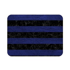 Stripes2 Black Marble & Blue Leather Double Sided Flano Blanket (mini) by trendistuff